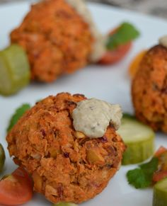This baked Sweet Potato Falafel is a delicious twist on a classic. The sweet potato, lemon zest and raisins give this falafel a unique taste and texture. Vegetarian Recipes Easy, Great Recipes, Whole Food Recipes, Cooking Recipes, Healthy Recipes, Snacks Recipes, Dinner Recipes, Plant Based Recipes, Vegetable Recipes