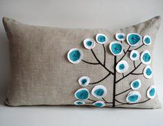 Sukan / Original Pen Pattern Pillow Cover - Beige, White, Turquoise, Black