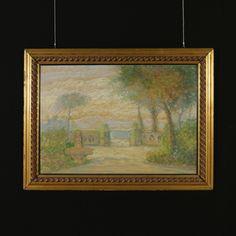 Acquarello su cartone. Dall'interno di un giardino con fontana si apre la vista su un lago. Firmato e datato in basso a sinistra. In cornice dorata in stile.