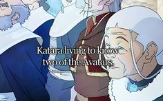 reasons to love tlok. In A:TLA it says she is going to die shorty after her second or third great grandchild. seeing as Jinora, Ikki, Meelo and Rohan are just her grandchildren, it looks like she has a ways to go! Unless Kya and Bumi have older children, which is very possible...