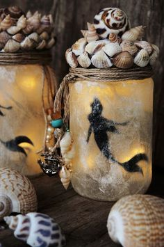 Nica crafts for the children& party: mermaid mermaid party, mermaid birthday . Diy Crafts To Sell, Home Crafts, Fun Crafts, Arts And Crafts, Mermaid Party Food, Mermaid Diy, Mason Jar Crafts, Bottle Crafts, Fairy Lanterns