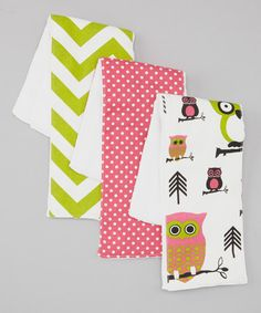 Take a look at this Pink & Green Owl Burp Pad Set by Four Sisters Trading Company on #zulily today!