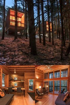 Camper cabins in Whitetail Woods Regional Park in Dakota County, Minnesota