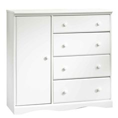 SAUDER Pogo Collection 41-7/8 in. x 43-1/4 in. 4-Drawer Chifforobe in Soft White-417146 - The Home Depot