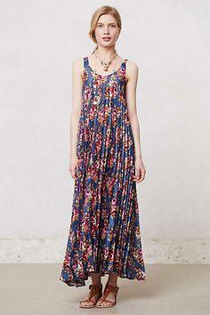 Anthropologie - Pleated Botanical Maxi Dress