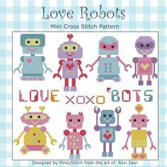 Love Bots Robots Minis Cross Stitch PDF Chart от PinoyStitch, $7.50