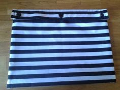 Sewing - Striped project bag - fits a magazine and materials. Lessons learned... 1) Don't distract yourself whilst hemming as black thread on white fabric looks messy 2) Match stripes on front and back 3) Fold fabric so thread matches colour of fabric