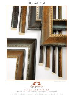 #omegamoulding presents the #Hermitage Collection, 10 striking new mouldings with texture-rich burl wood veneers. The collection's wide profiles showcase the beauty of the burl with broad panels of veneer, displaying the natural grain patterns, knots and color variations of the wood. #customframes #framedesign #design #luxury #style #framingdecor #interiordesign