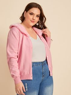 Ad: Plus Solid Contrast Faux Fur Cardigan. Tags: Casual, Pink, Plain, Collar, Regular, Cardigan, Contrast Faux Fur, Long Sleeve, Regular Sleeve, Fall/Winter, 100% Polyester, Polyester, Fabric is very stretchy, Regular Fit, No #fashion #womenfashion #womenclothes #shein