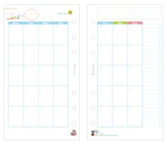 Printable month On Two Pages Refill - site has many planner combinations Filofax Personal, Midori, Refillable Planner, Custom Planner, Personal Organizer, Planner Organization, Printable Planner, Free Printables, Planer