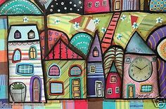 Night Town CANVAS Houses Flowers Clock Moon PAINTING 20x16 FOLK ART Karla G