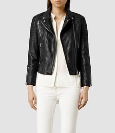 Womens Papin Leather Biker Jacket (Black)