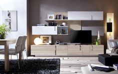 Salón modular Home Tv, Tv Unit, Flat Screen, New Homes, Living Room, Wall, Furniture, Police, Home Decor