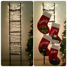 My Christmas stocking ladder. 2 2x4s and 5 1-foot boards. Screw together and paint. Add knobs to hang stockings. So easy!
