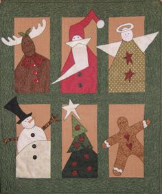 Christmas Santa Reindeer Snowman Quilted Wall by HollysHutch