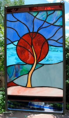 """Stained Glass Window Panel Flaming Sun setting over the Mountain """"Midnight Blues"""" on Etsy, $179.00"""