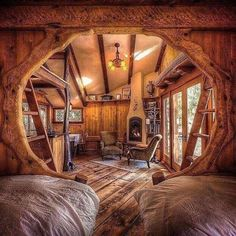 Tree house ideas will fill the minds of many families with children or even when the baby is still on the way. There are many tree house ideas where you… Continue Reading → Cabin Homes, Log Homes, Tree House Homes, Cottage Homes, Casa Dos Hobbits, Tree House Designs, Cabins And Cottages, Log Cabins, Rustic Cabins