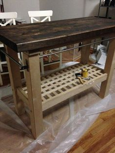 ikea hack potting bench from ikea groland kitchen island exterior paint on base exterior wood. Black Bedroom Furniture Sets. Home Design Ideas