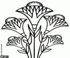 Papyrus flowers. The papyrus sedges are aquatic plants in Egypt coloring page