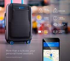 Bluesmart luggage connects to a mobile app that allows travelers to track the bag's proximity, digitally lock and unlock it, check the bag's weight, show travel data and track routes.