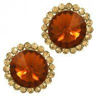 "$7.99 Amazon.com: Designer Inspired Post Earring / Color: Brown / Rhinestones / Gold Plated / Dimension: 3/4""w X 3/4""h: Jewelry"