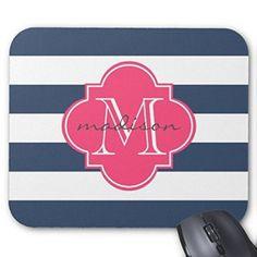 SClink Non-Slip Rubber Custom Printed Mousepad Gaming Navy And Pink Nautical Stripes Custom Monogram Mouse Pad Mat Standard Desktop 7x9 Inch