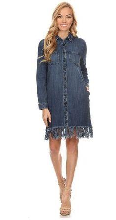 Fringed Bottom Denim Dress