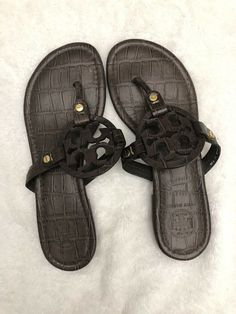 048ee6c46 Tory Burch Miller Croc Print Pure Leather Sandals Size 7.5 (Medium). Brown   fashion  clothing  shoes  accessories  womensshoes  sandals (ebay link)