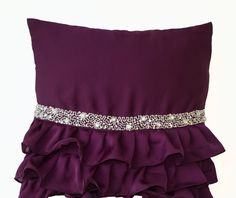 Purple pillow ruffled throw pillow cover 18x18 by AmoreBeaute