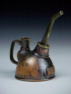 steampunk ceramics | steampunk oil can ceramics