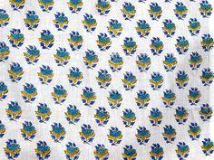 1 Yard Sanganer Cotton Natural Sewing Craft Hand Block Print Running Fabric V237 #NamasteyJaipur