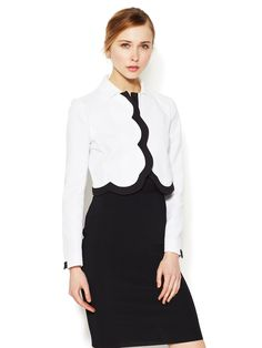Cotton Contrast Scalloped Jacket by Valentino at Gilt
