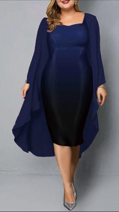 Plus Size Chiffon Cardigan and Sleeveless Royal Blue Lace Dress Royal Blue Lace Dress, Plus Size Lace Dress, Blue Plus Size Dresses, Chiffon Cardigan, Chiffon Dress, Red Chiffon, Vestidos Plus Size, African Fashion, Sheath Dress