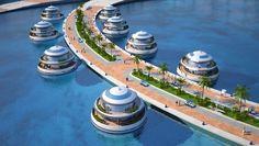 Amphibious 1000 concept designs for futuristic semi-submerged hotel resort in Qatar