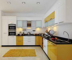 Trendy House Beautiful Kitchens Tiny Homes Kitchen Design Open, Contemporary Kitchen Design, Kitchen Cabinet Design, Kitchen Layout, Interior Design Kitchen, Kitchen Designs, Kitchen Wardrobe Design, Interior Ideas, Kitchen Modular