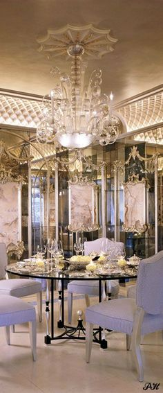 LUXURIOUS DINING- CROWN MOLDINGS & MIRRORED WALLS