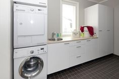 Floor with white Modern Laundry Rooms, Stacked Washer Dryer, Storage Solutions, Home And Living, Washing Machine, Shelving, Ikea, Home Appliances, Flooring