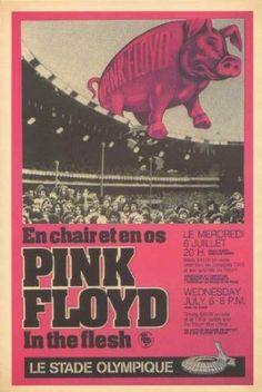 A reproduction of the the original poster for the Pink Floyd concert at the Olympic Stadium, Montreal on July 6th 1977.