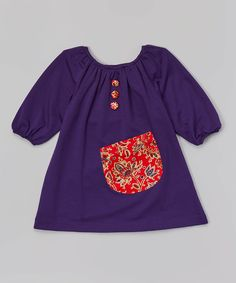Purple & Red Paisley Puff-Sleeve Dress - Toddler & Girls by Lele Vintage #zulily #zulilyfinds