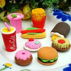 Fast Food Shaped Eraser Set (4 stuks) - EUR € 1.83