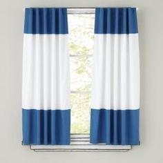 CA152 132 White Black Stripe Cotton Canvas Curtain X 1 Panel Custom Made