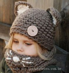 Crochet PATTERN-The Camille Cat Set (Toddler, Child and Adult sizes) Etsy Pattern ~ Emma needs this! Diy Tricot Crochet, Crochet Beanie, Crochet Hats, Knit Cowl, Knitting Projects, Crochet Projects, Knitting Patterns, Crochet Patterns, Velvet Acorn