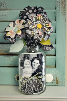 We R Mason Jar Photo Display by Aly Dosdall - using the Flower Punch Board Mason Jar Projects, Mason Jar Crafts, Pot Mason, Mason Jars, Flower Punch Board, Mason Jar Photo, Mother's Day Projects, Mother's Day Gift Baskets, We R Memory Keepers