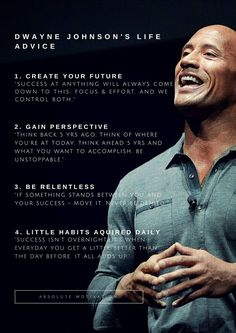 Dwayne Johnson's Life Advice, quotes Friday Feeling