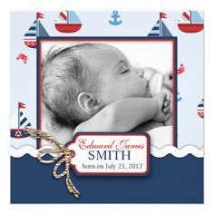 Nautical Ships Ahoy! Birth Announcement SQ