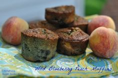 Fold in a little fruit surprise in your summer muffins! Peach and Wild Blueberry Muffins: the Essence of Summer #recipes #breakfast #peachmuffins