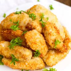 Parmesan Chicken Fingers with Garlic Cheese Sauce Recipe