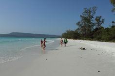 Enjoying the pristine Long beach of Koh Rong Island, Cambodia