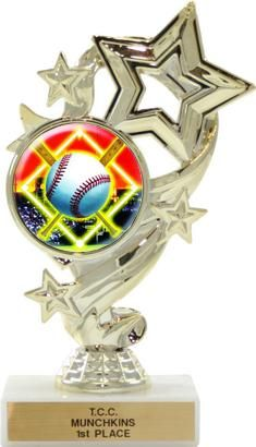"Activity Insert Star Trophy. The activity insert is highlighted by the contemporary Star design. Choose from a multitude of stock activity insert designs or ""Customize It"" with your organization's logo!!! Includes personalization plate and solid marble base. NEW Participation Award for the Star performer!  SDTA offers free engraving on all of our awards and trophies!"