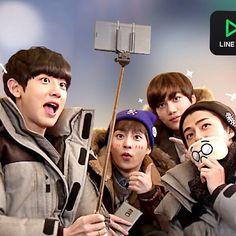 Chanyeol, Kai, Xiumin, Sehun - 150121 Line TV promotional image Credit: _. Chanyeol Baekhyun, Exo K, Park Chanyeol, Tvxq, Btob, Line Tv, Boys Republic, Baekyeol, Girl Day